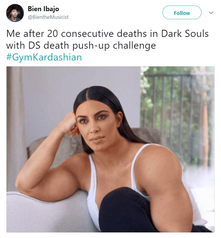 Shoulder - Bien Ibajo Follow @BientheMusicist Me after 20 consecutive deaths in Dark Souls with DS death push-up challenge #GymKardashian