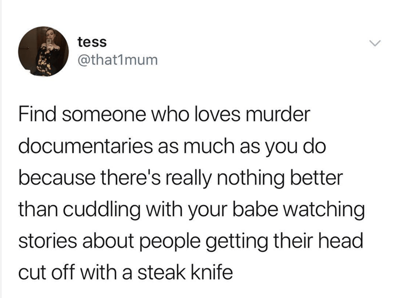 Text - tess @that1mum Find someone who loves murder documentaries as much as you do because there's really nothing better than cuddling with your babe watching stories about people getting their head cut off with a steak knife