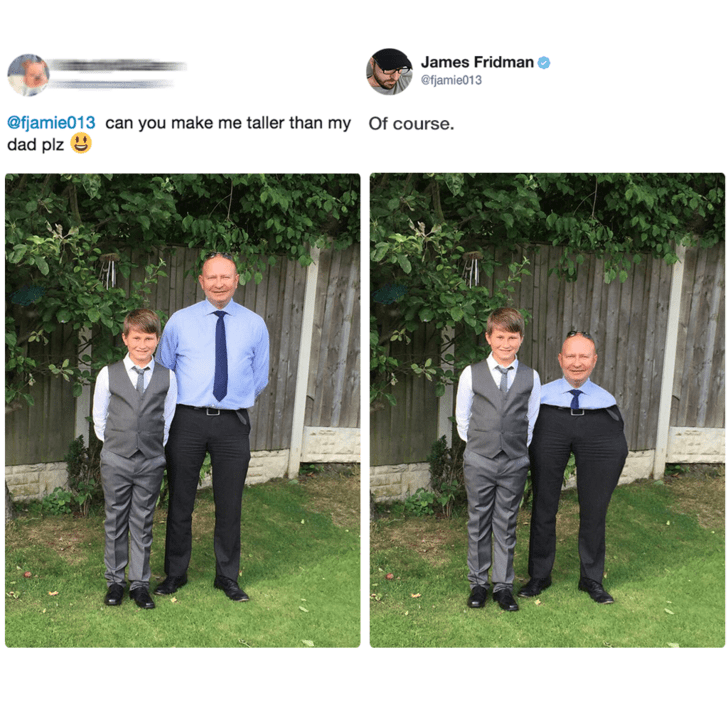 Photograph - James Fridman @fjamie013 @fjamie013 can you make me taller than my dad plz Of course.