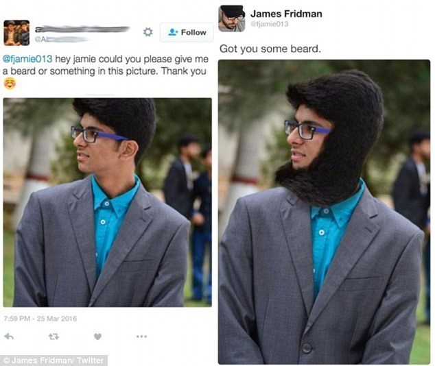 Product - James Fridman efjamie013 Follow Got you some beard. @fjamie013 hey jamie could you please give me a beard or something in this picture. Thank you 7:59 PM-25 Mar 2016 James Fridman/ Twitter