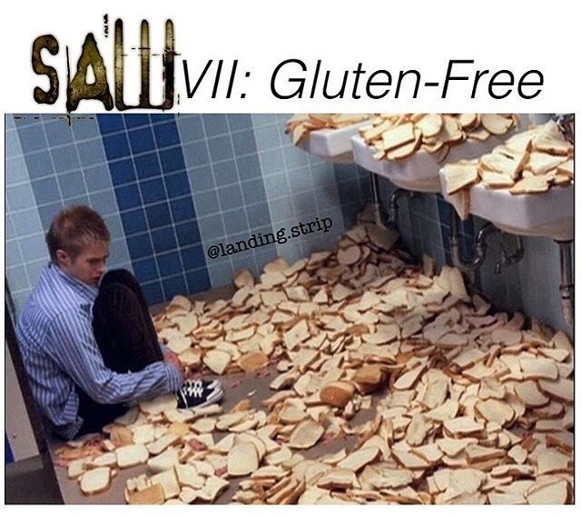 Funny horror movie meme about gluten free.