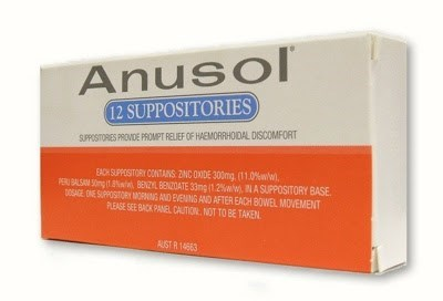 Material property - Anusol 12 SUPPOSITORIES SUPPOSITORES PROVIDE PROMPT RELIEF OF HAEMORRHOIDAL DISCOMFORT EACH SUPPOSITORY CONTANS 2NC OXIDE 300mg (11.0 %ww) P BALSAM 50g BENZYL BENZDATE 33mg i1.2% A SUPPOSITORY BASE DOSAGE ONE SUPPOSITORY MORNING AND EVENNG AND AFTER EACH BOWEL MOVEMENT PLEASE SEE BACK PANEL CATION NOT TO BE TAKEN AUST R14663