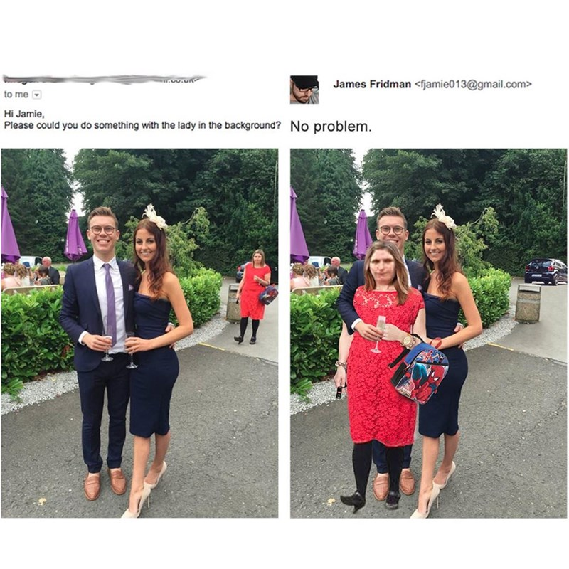 meme - Pink - James Fridman <fjamie013@gmail.com to me Hi Jamie Please could you do something with the lady in the background? No problem.