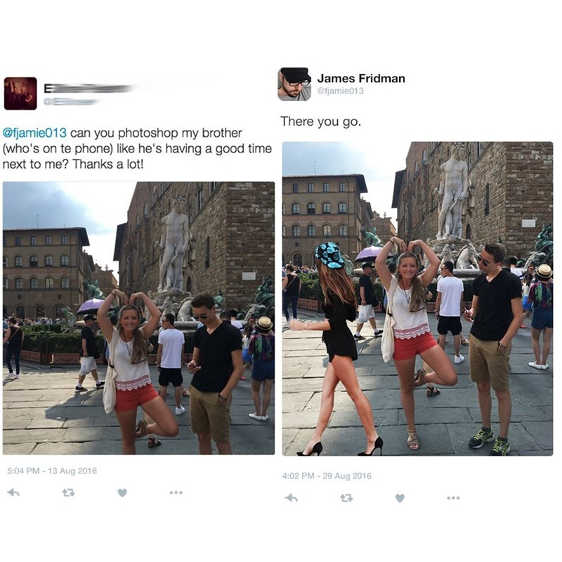 meme - Photograph - James Fridman @fjamie013 There you go. @fjamie013 can you photoshop my brother (who's on te phone) like he's having a good time next to me? Thanks a lot! 5:04 PM-13 Aug 2016 4:02 PM-29 Aug 2016