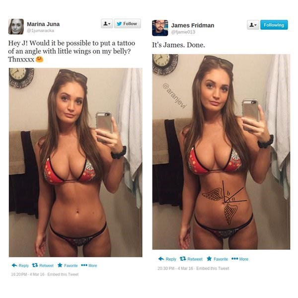 meme - Lingerie - Marina Juna Follow James Fridman Following ljumaracka @amie013 Hey J! Would it be possible to put a tattoo of an angle with little wings on my belly? Thnxxxx It's James. Done Reply 13 Retweet Favorite More Repty 13 Retweet Favonte More 20.30 PM-4 Mar 16 Embed this Tuweet 1620PM-4Mar 16 Embed this Tweet @aranjevi