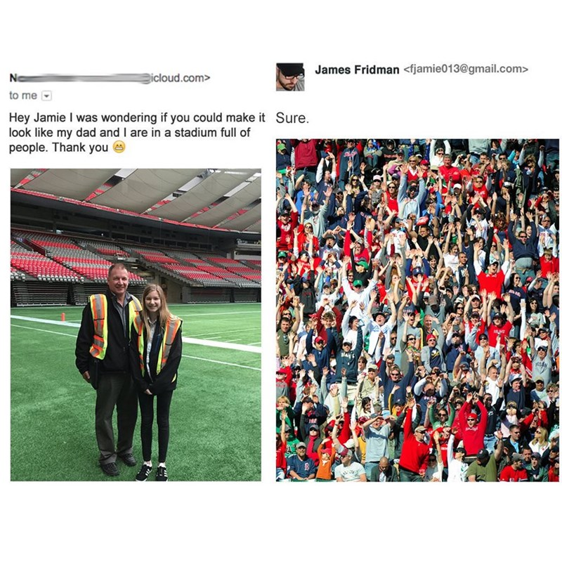 meme - Sport venue - James Fridman <fjamie013@gmail.com> Ne icloud.com> to me Hey Jamie I was wondering if you could make it Sure look like my dad and I are in a stadium fulll of people. Thank you A