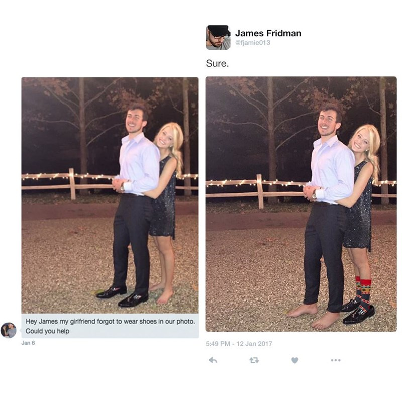 meme - Photograph - James Fridman @fjamie013 Sure. Hey James my girlfriend forgot to wear shoes in our photo. Could you help Jan 6 5:49 PM 12 Jan 2017