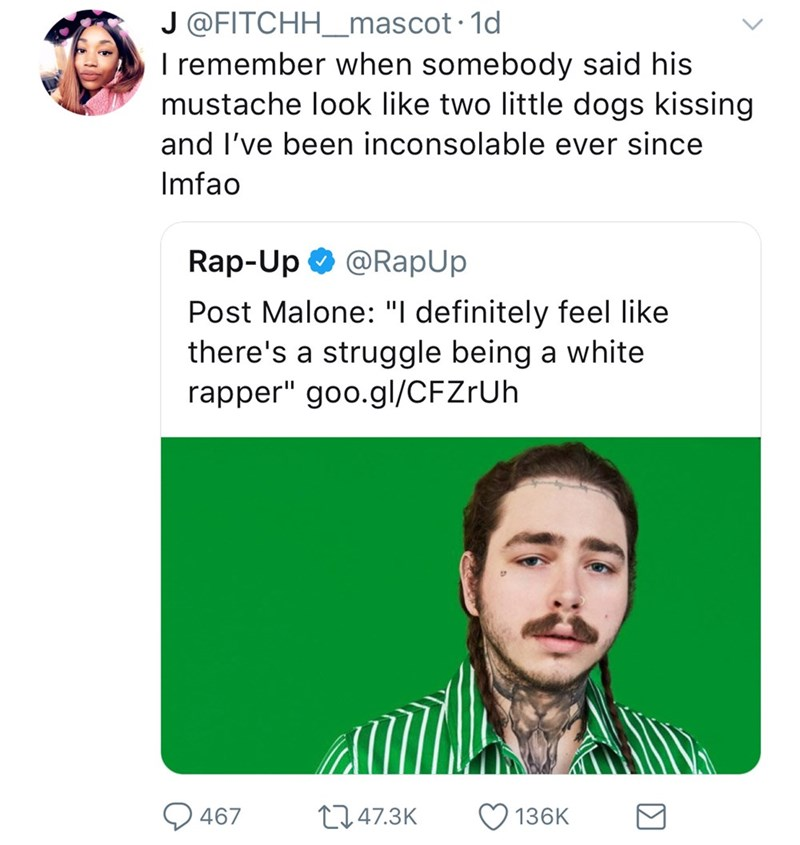 """Face - J @FITCHH_mas cot 1d I remember when somebody said his mustache look like two little dogs kissing and I've been inconsolable ever since Imfao Rap-Up @RapUp Post Malone: """"I definitely feel like there's a struggle being a white rapper"""" goo.gl/CFZrUh t1.47.3K 467 136K"""