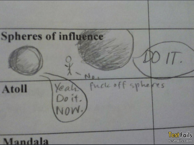 Text - Spheres of influence DO IT X- No Yeal fuce off spheres Do it. Atoll NoW Test Fails Mandala testfails.com