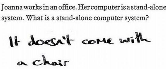 Text - Joanna works in an office. Her computer is a stand-alone system. What is a stand-alone computer system? lt doesnt coMe Wi a chair