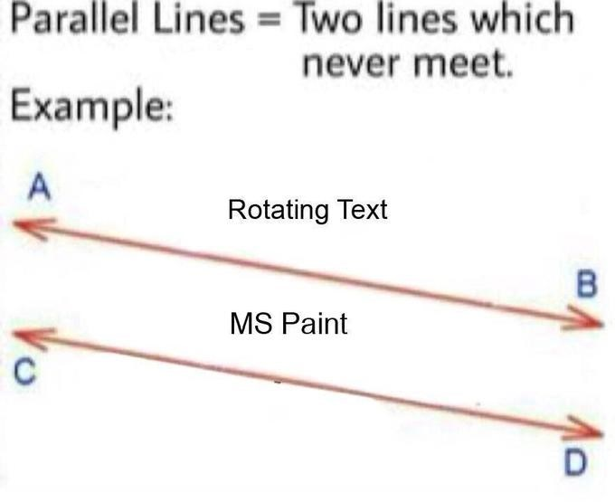 Line - Parallel Lines Two lines which never meet. Example: A Rotating Text MS Paint D