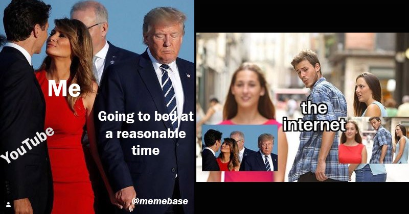 Funny meme involving a candid photo of Donald and Melania Trump and Justin Trudeau, resembling the 'Distracted Boyfriend' meme