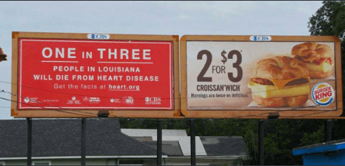 Advertising - 8CIts ONE IN THREE 2-3 PEOPLE IN LOUISIANA FOR WILL DIE FROM HEART DISEASE Get the facts at heart.org CROISSAN'WICH Marnings are twice as deiclou URGER KING d
