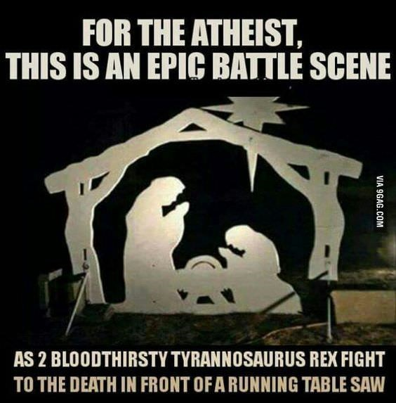 Font - FOR THE ATHEIST, THIS IS AN EPIC BATTLE SCENE AS 2 BLOODTHIRSTY TYRANNOSAURUS REX FIGHT TO THE DEATH IN FRONT OFA RUNNING TABLE SAW VIA 9GAG.COM