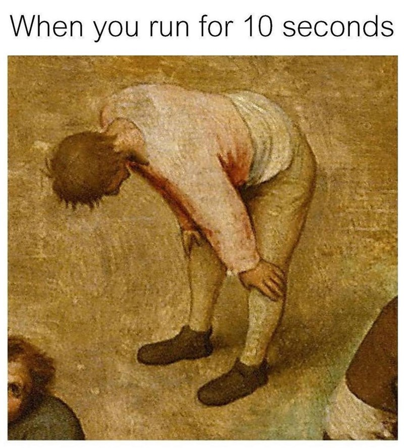 Funny meme about a guy running.
