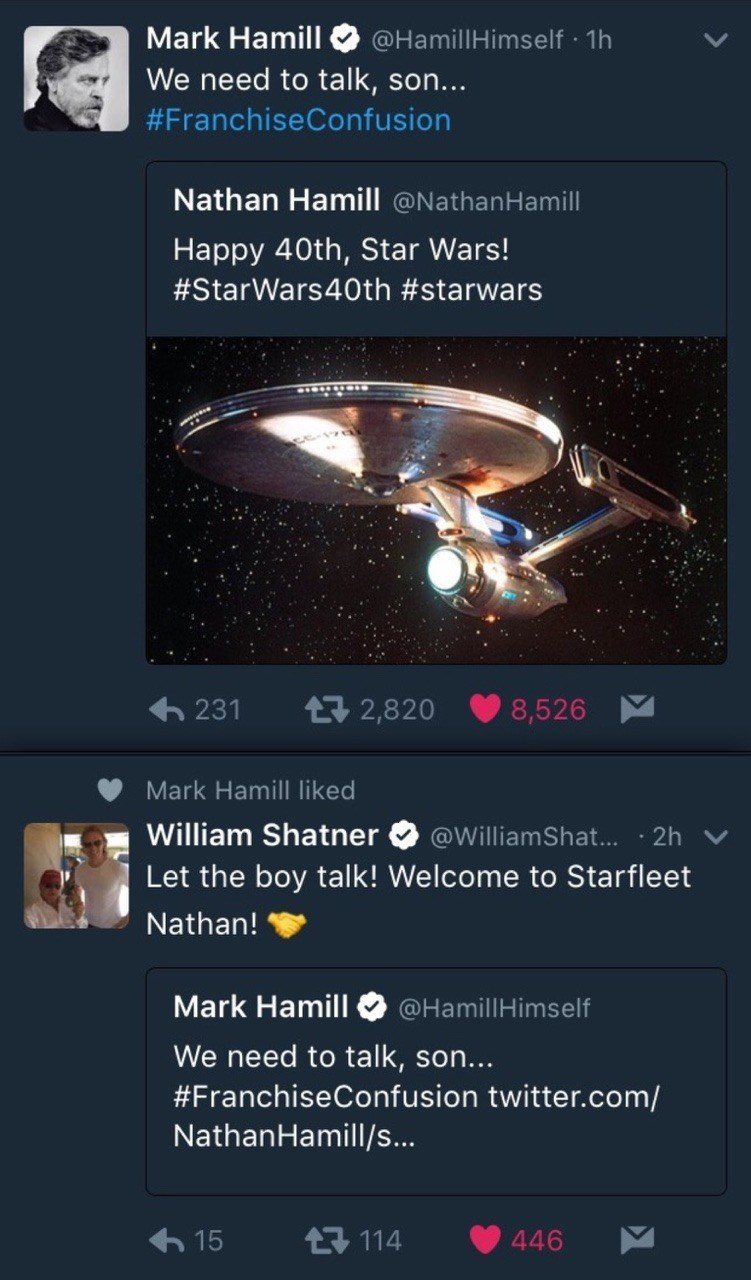 Funny meme about mark hamill and nathaniel hamill and star trek and star wars, william shatner.