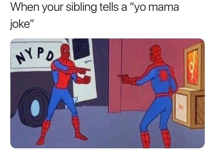 Funny meme about yo mama jokes when you are telling them to your sibling.