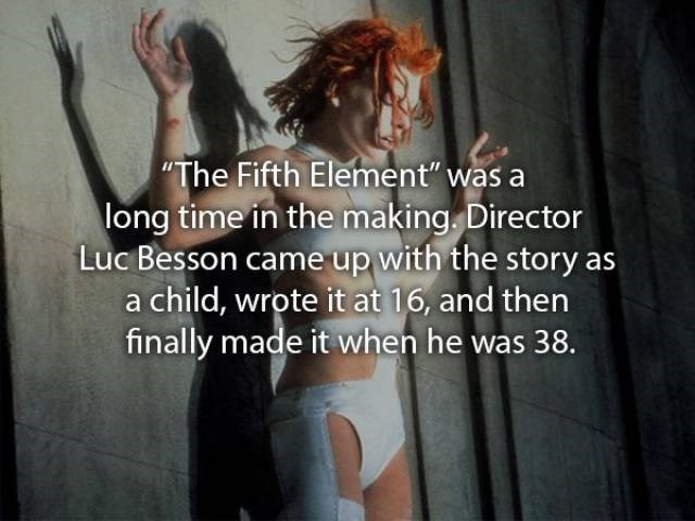 """movie fact - Facial expression - The Fifth Element"""" was a long time in the making. Director Luc Besson came up with the story a child, wrote it at 16, and then finally made it when he was 38."""