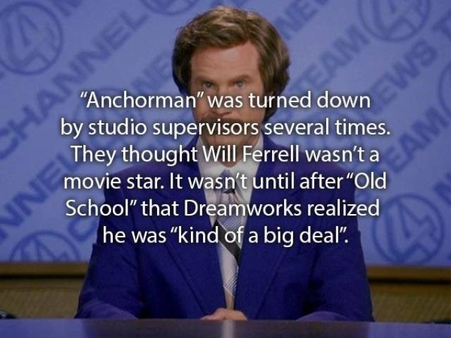"""movie fact - Text - IE NE """"Anchorman was turned dow WS They thought Will Ferrell wasn't aAM by studio supervisors several times. movie star. It wasn't until after """"Old School"""" that Dreamworks realized he was """"kind of a big deal"""" INN"""
