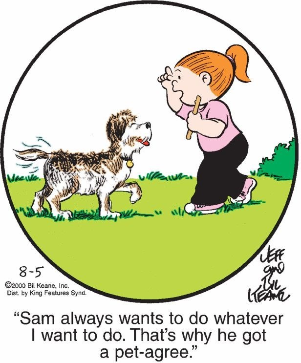 """Cartoon - MeeWe 8-5 O2000 Bil Keane, Inc. Dist. by King Features Synd. """"Sam always wants to do whatever I want to do. That's why he got a pet-agree."""""""