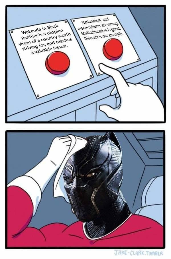 Cartoon - Wakanda in Black Panther is a utopian vision of a country worth striving for, and teaches a valuable lesson. Nationalism, and mono-cultures are wrong Multiculturalism is good. Diversity is our strength JAKE-CLARK.TUMBLR