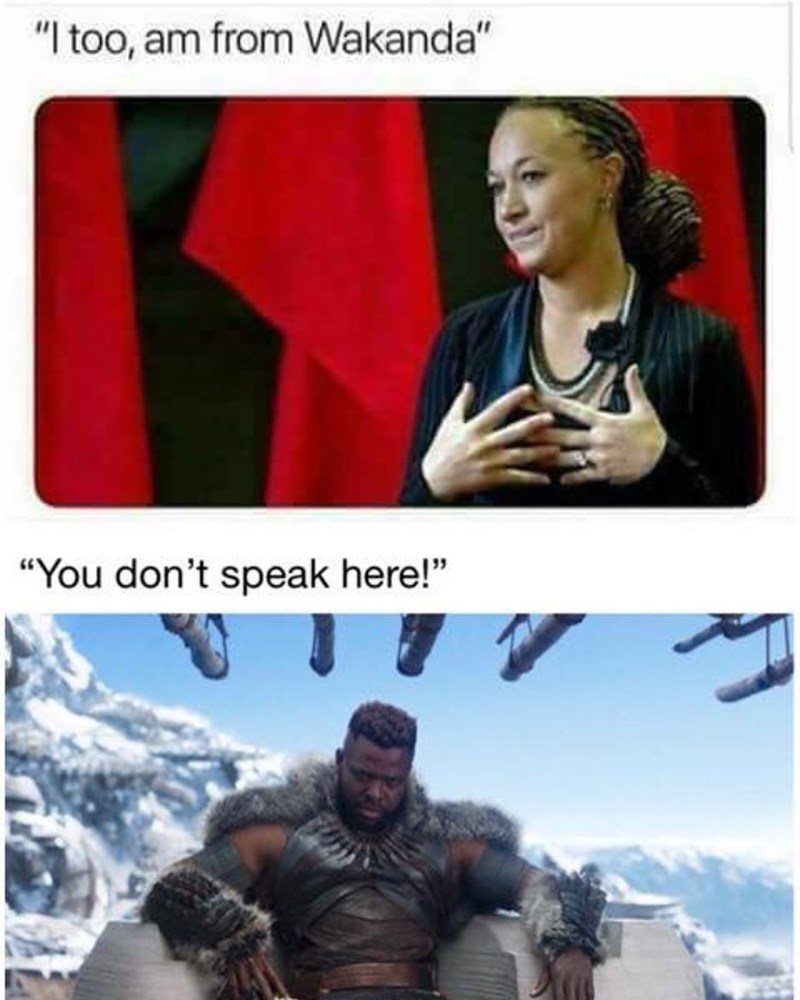 """Fictional character - """"I too, am from Wakanda"""" """"You don't speak here!"""""""