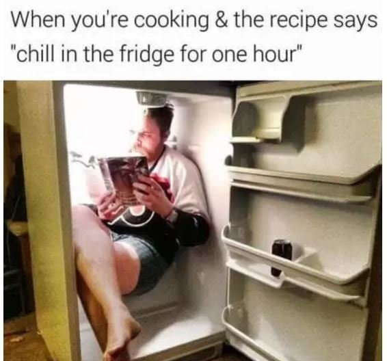 Funny meme about cooking and instructions.
