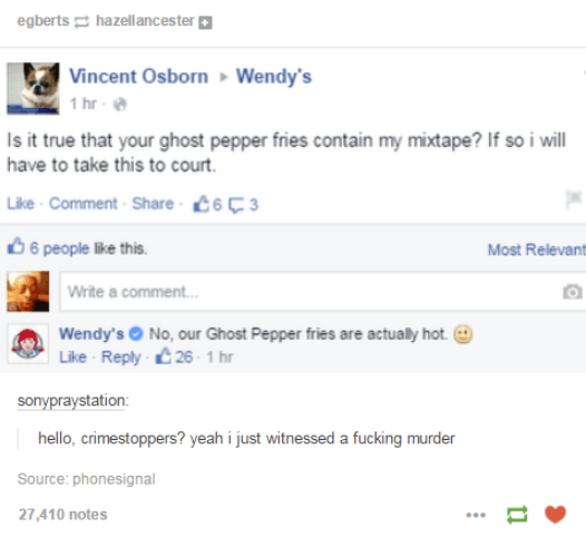 Text - egberts hazellancester Vincent Osborn 1 hr Wendy's Is it true that your ghost pepper fries contain my mixtape? If so i will have to take this to court Like Comment Share 63 6 people like this. Most Relevant Write a comment... Wendy's No, our Ghost Pepper fries are actually hot. Like-Reply-26- 1 hr sonypraystation: hello, crimestoppers? yeah i just witnessed a fucking murder Source: phonesignal 27,410 notes