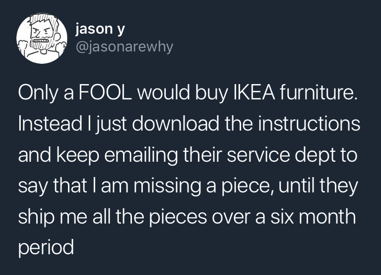 Funny meme about ikea and twitter.
