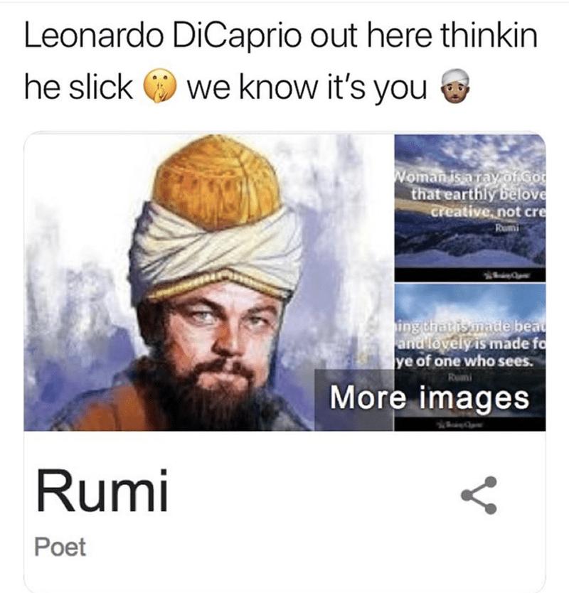 Leonardo DiCaprio's face photoshopped over Persian poet Rumi's