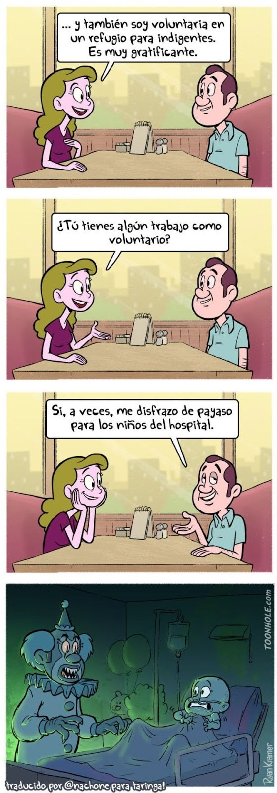 trabajo de beneficio en un hospital payaso