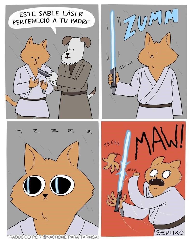 gato jedi que se corta la mano SephkoComics