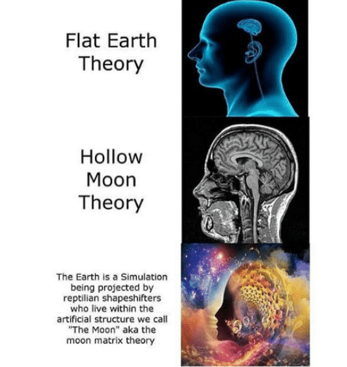 "meme - Brain - Flat Earth Theory Hollow Moon Theory The Earth is a Simulation being projected by reptilian shapeshifters who live within the artificial structure we call ""The Moon"" aka the moon matrix theory"