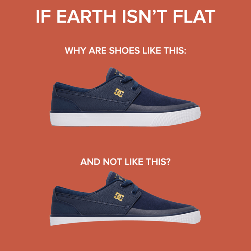 meme about shoes and flat earth society