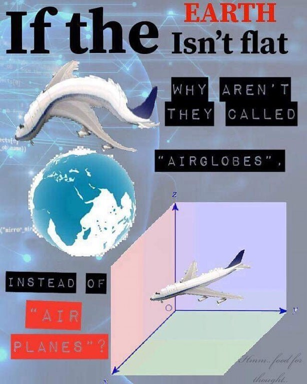 dank meme about renaming airplanes as a result of the flat earth conspiracy