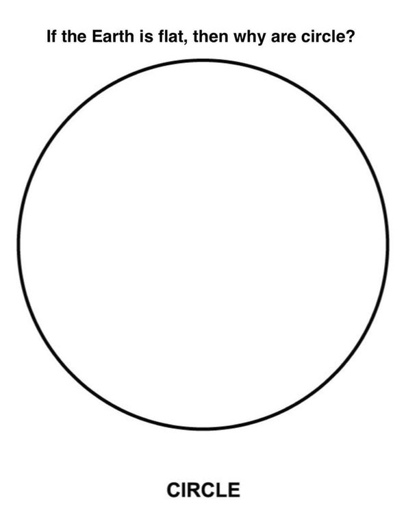 meme about circles and flat earth society