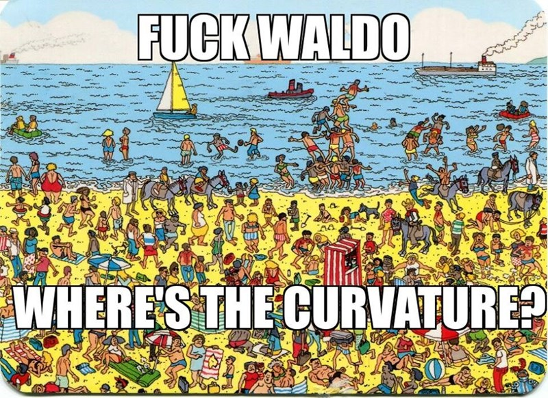page from a Where's Waldo book where you need to find the earth's curvature to prove that it's round