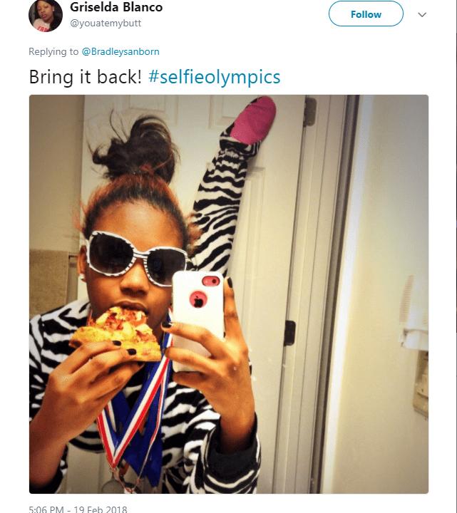 Eyewear - Griselda Blanco Follow @youatemybutt Replying to@Bradleysanborn Bring it back! #selfieolympics 5:06 PM - 19 Feb 2018