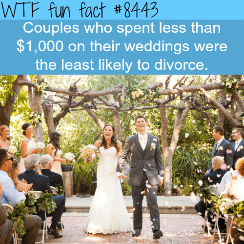 Photograph - WTF fun fact #8443 Couples who spent less than $1,000 on their weddings were the least likely to divorce.
