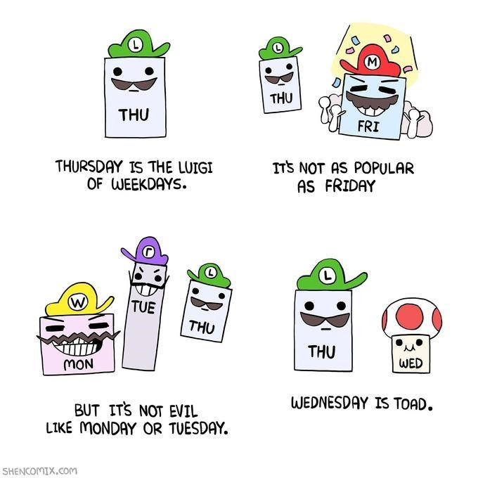 Funny webcomic about super mario, luigi, and the days of the week.