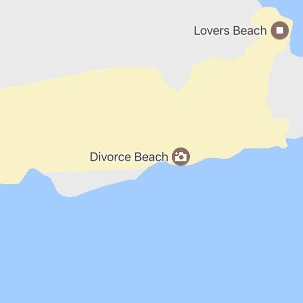 Map - Lovers Beach O Divorce Beach