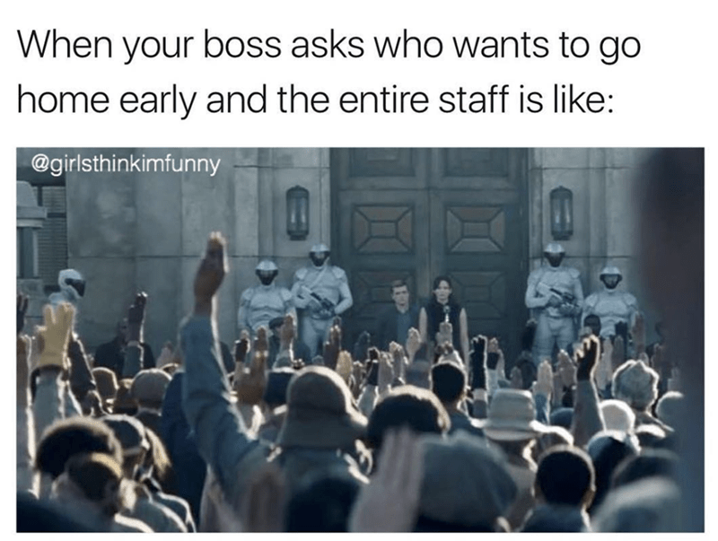 funny meme about when the boss asks who wants to go home early