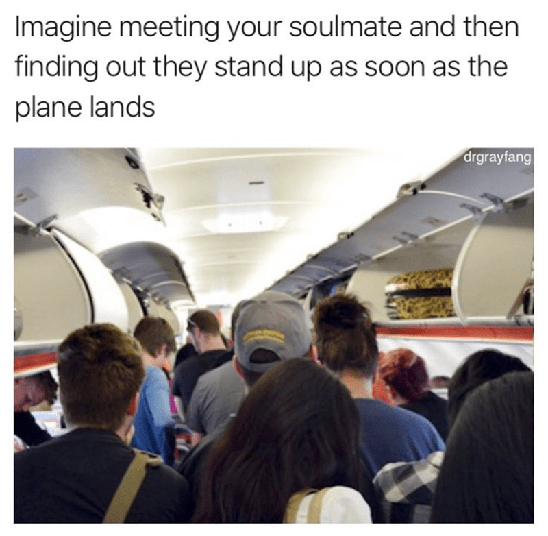 soul mate meme about people who stand up as soon as the plane lands