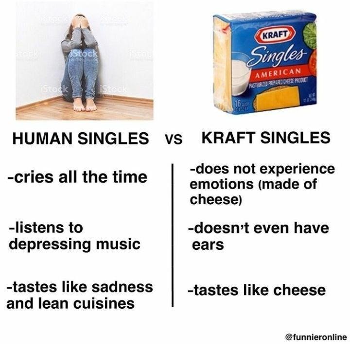 Funny meme about kraft singles vs human singles.