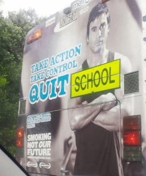 Advertising - me UN758707 TAKE ACTION TAKE CONTROL QUIT SCHOOL BENCHE SMOKING NOT OUR FUTURE w