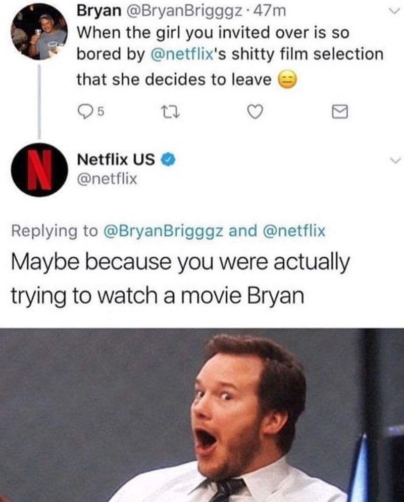 Funny meme about netflix and chilling.