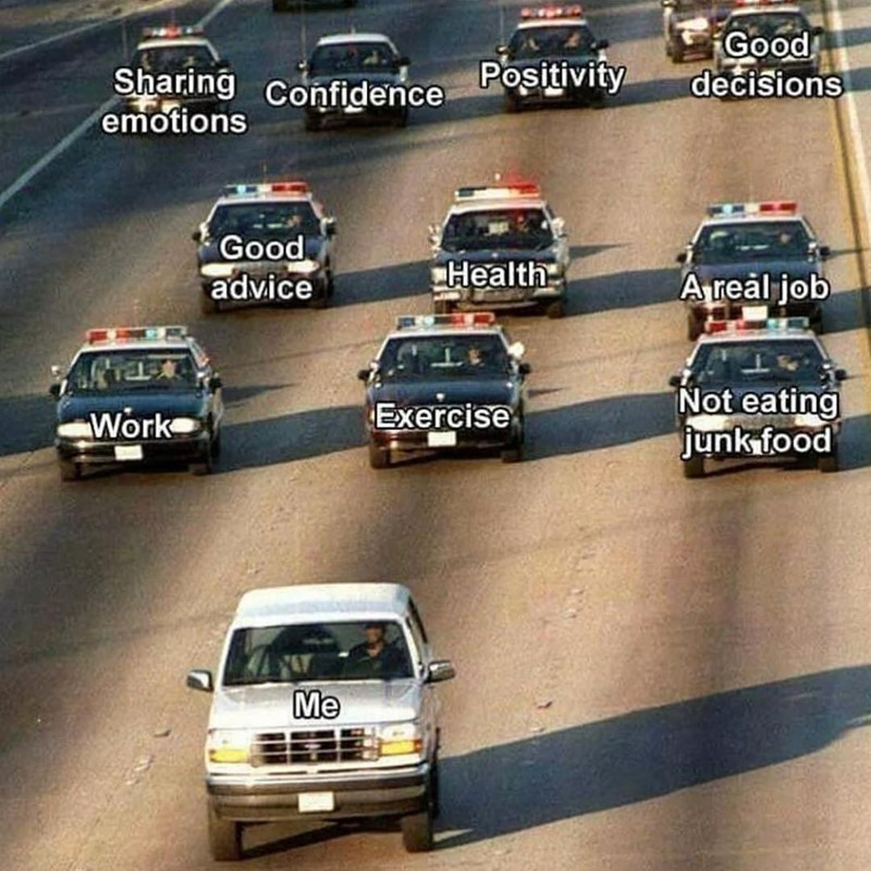 Funny meme of responsibility chasing person in the form of police cars.
