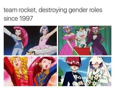Cartoon - team rocket, destroying gender roles since 1997