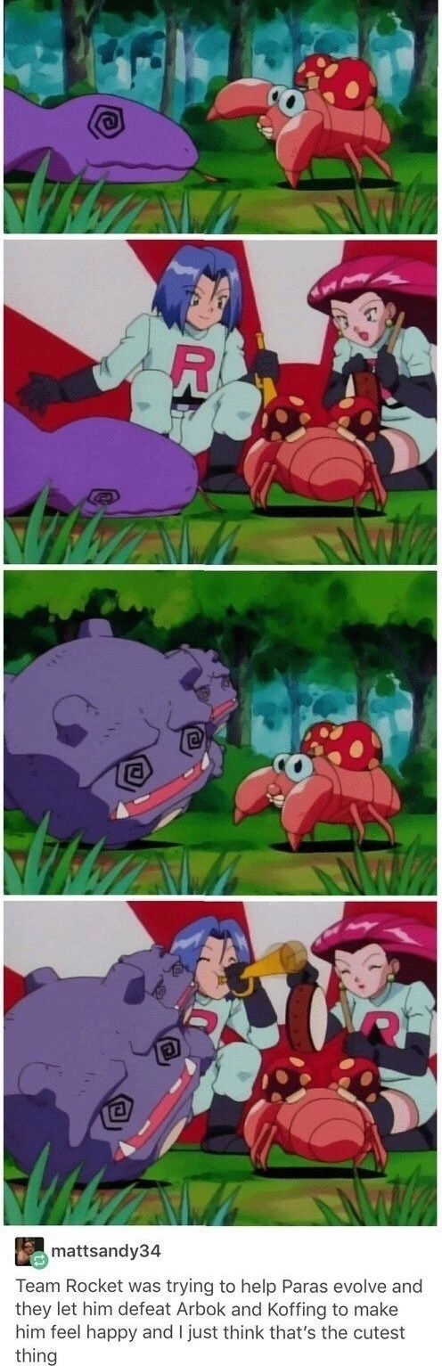 Animated cartoon - R mattsandy34 Team Rocket was trying to help Paras evolve and they let him defeat Arbok and Koffing to make him feel happy and I just think that's the cutest thing