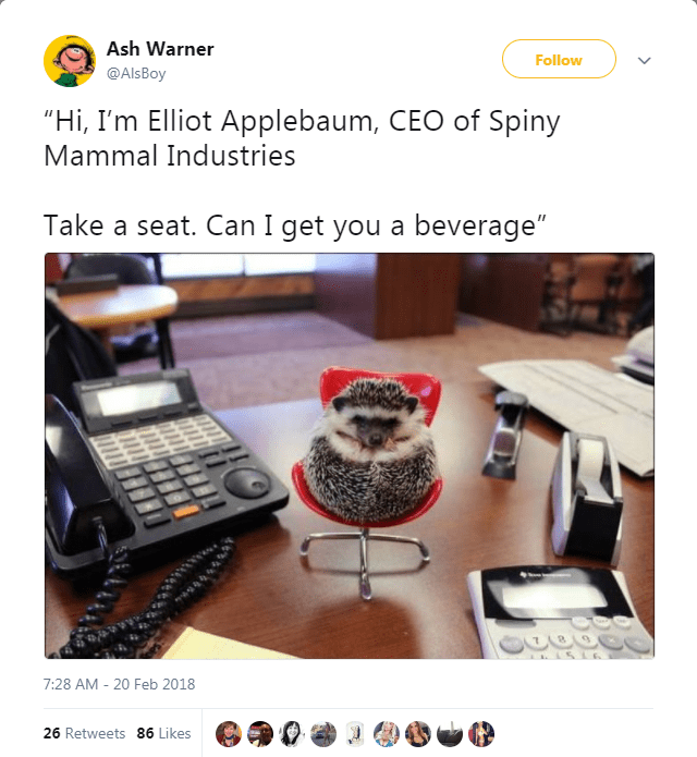 "Product - Ash Warner Follow @AlsBoy ""Hi, I'm Elliot Applebaum, CEO of Spiny Mammal Industries Take a seat. Can I get you a beverage"" 7:28 AM -20 Feb 2018 26 Retweets 86 Likes"